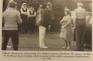 Captain Beaumont welcomes Her Majesty Queen Elizabeth The Queen Mother